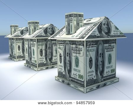 Three 3D Houses From The Money. Business Concept
