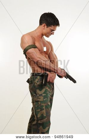 army man flexing
