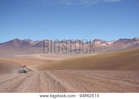 Tourist car at the Atacama Desert in Bolivia