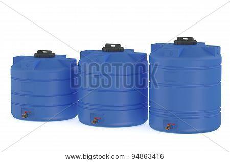Three Blue Water Tanks Or Water Barrels