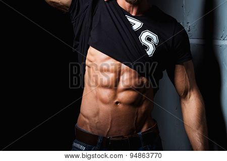 Muscular and sexy torso of young man