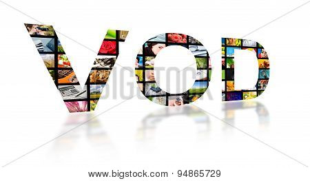 Video On Demand Abstract Text, Tv Concept.