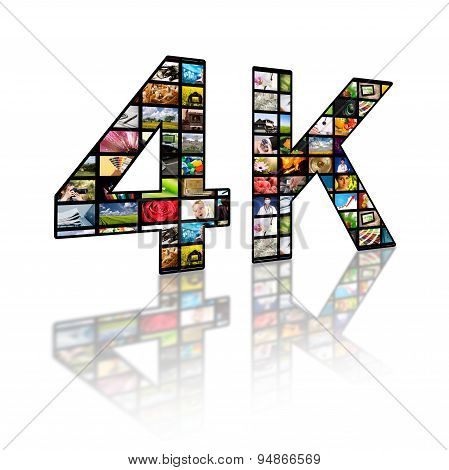 4K Resolution Tv Concept.