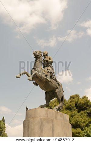 Georgios Karaiskakis statue in Sidagma Athens