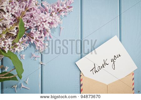 Vintage Postage Envelope With Card And Summer Bouquet Of Lilac