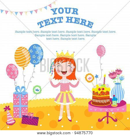Little funny princess smiling and happy gifts. Happy birthday background. Happy birthday elements. Balloons and birthday cake. Surprize. Smiling girl on her birthday. Happy birthday concept. Happy birthday vector illustration.