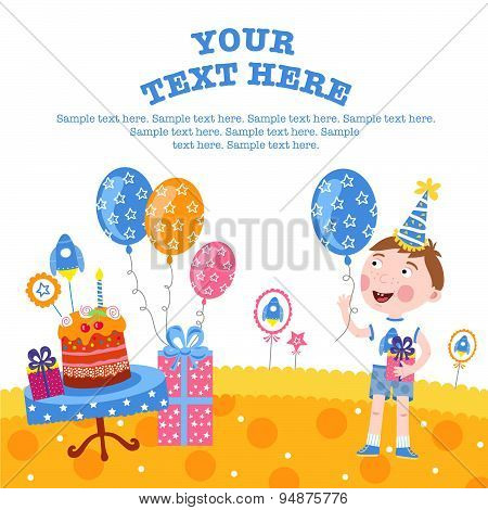 Little funny boy smiling and happy gifts. Happy birthday background. Happy birthday elements. Balloons and birthday cake. Surprize. Smiling boy on her birthday. Happy birthday concept. Happy birthday vector illustration.