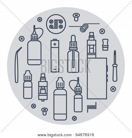 Vector icons set of vaporizer and accessories poster