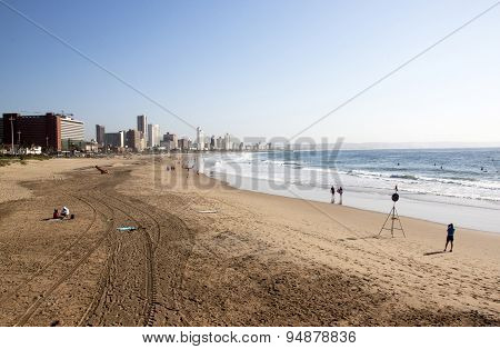 People And Surfers On Addington Beach In Durban