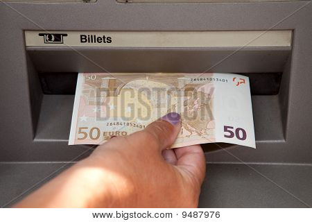 Woman Withdraw Money At Cashpoints