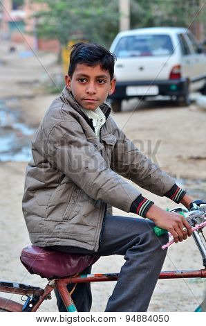Jodhpur, India - January 2, 2015: Portrait Of Indian Child In A Village In Jodhpur