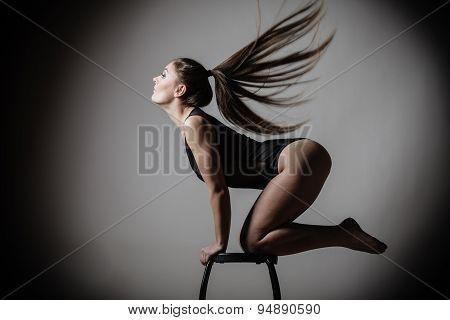 Atletic Woman Fit Slim Body Posing