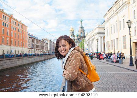 Happy Girl Tourist In Saint Petersburg