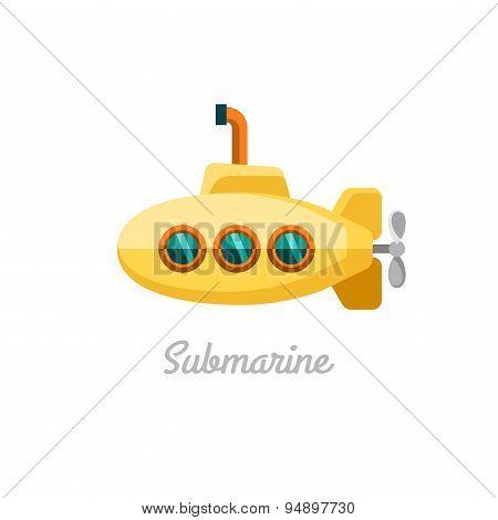 Submarine. Vector illustration.