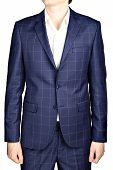 Dark blue plaid suit coat men wedding attire groom isolated on white. poster