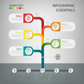 Business Tree Timeline Infographics.vector Illustration.