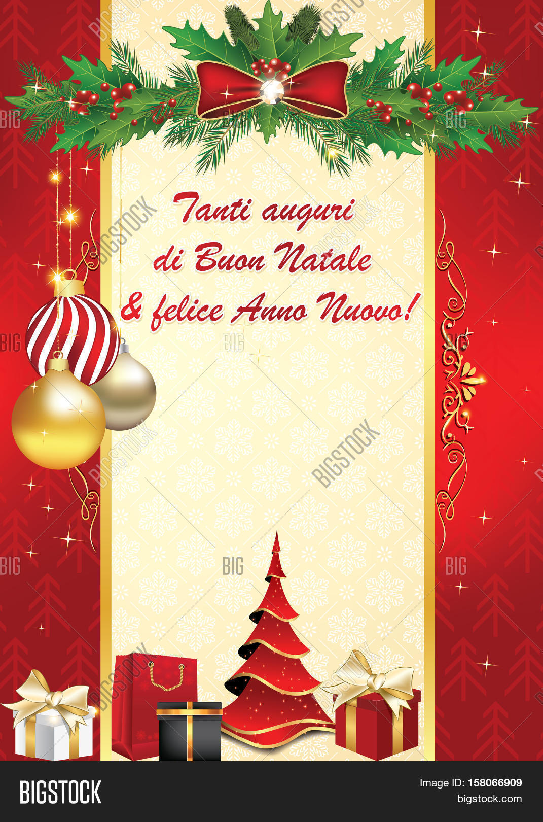 italian elegant greeting card for winter holiday we wish you merry christmas and happy new - Merry Christmas And Happy New Year In Italian