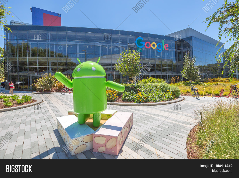 google hq office mountain view california. Mountain View, California, USA - August 15, 2016: Android Nougat Replica In Google Hq Office View California