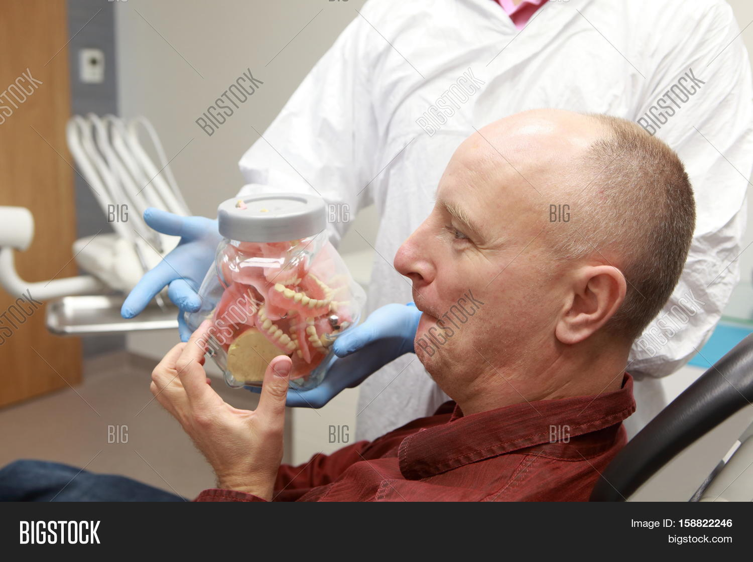 mature toothless patient selecting image & photo | bigstock