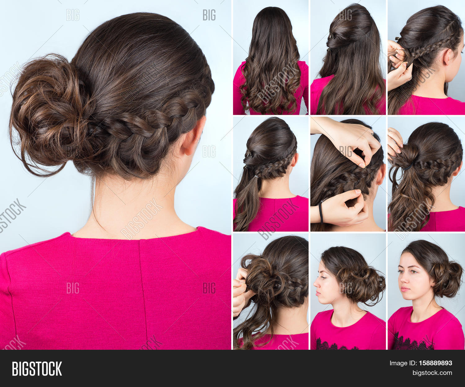 Hairstyle Twisted Bun To One Side And Braid On Curly Hair Tutorial For Long