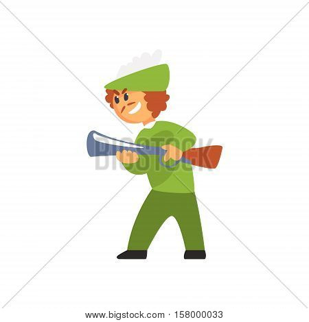 Boy In Costume OfHunter With Gun Performing In Theatrical Show In Fairy-Tale Red Hood Story. Children Actors Acting On Stage Of School Theatre In A Play For Performance Art Class Colorful Vector Illustration