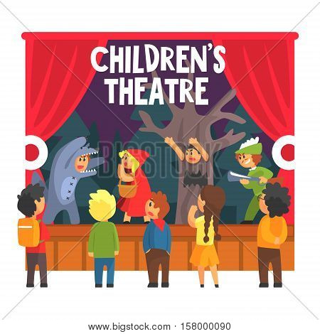 Red Hood Fairy-tale Show Scene With Wolf And Hunter Performed By Kids In Amateur Theatre With Other Pupils Watching . Children Actors Acting On Stage Of School Theatre In A Play For Performance Art Class Colorful Vector Illustration