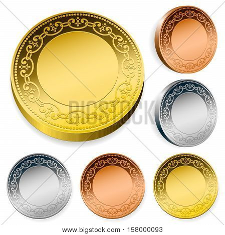 Ornate coin set in gold silver and bronze with blank center copy space viewed straight on and at an angle isolated on white vector design