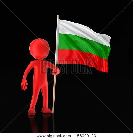 3D Illustration. Man and Bulgarian flag. Image with clipping path