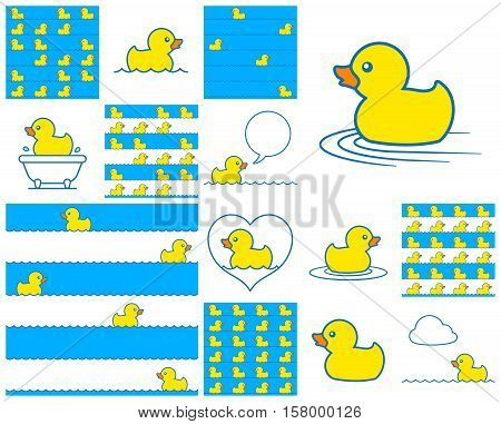Cute little toy rubber duck icon collection swimming in a bathtub on blue on stripes with a speech bubble and heart for design elements and seamless vector patterns