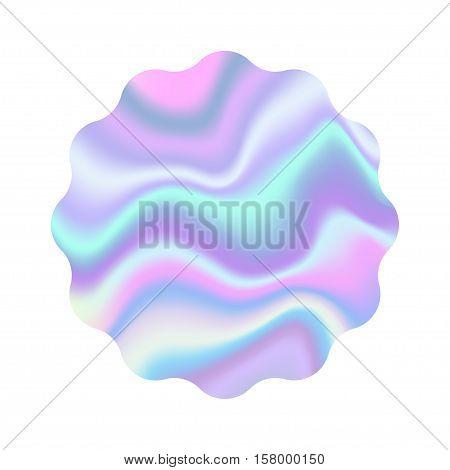 Holographic design illustration wave shape sticker shine emblem