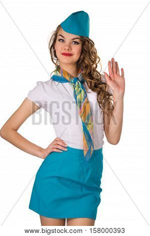 Young girl in a suit of the stewardess on a white background