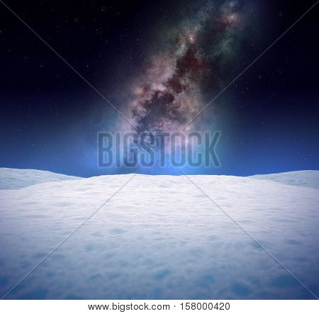 Snowy winter landscape with abstract galaxy in the sky. Plain fields of snow.