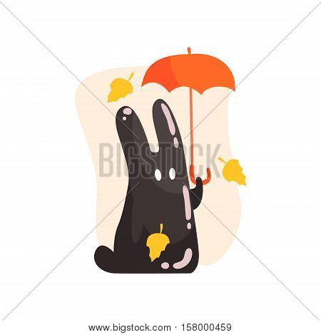 Black Tar Jelly Rabbit Shape Monster Holding Orange Umbrella Under Falling Yellow Leaves Outdoors In Autumn Season. Part Of Autumn Fantastic Animal Creatures Set Of Funny Cartoon Vector Illustrations