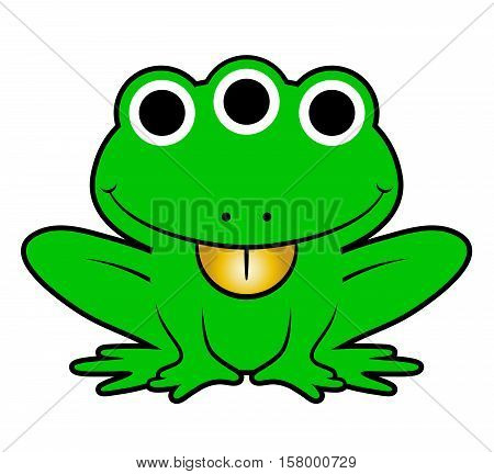 Cute extraterrestrial mutant green cartoon alien frog with three eyes and a protruding golden tongue isolated on white vector illustration