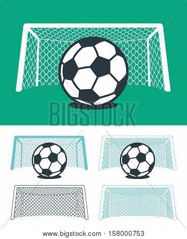 Set of soccer balls with nets and goal posts in black green and white color hues in three different combinations vector sporting illustration for championship league or World Cup themes