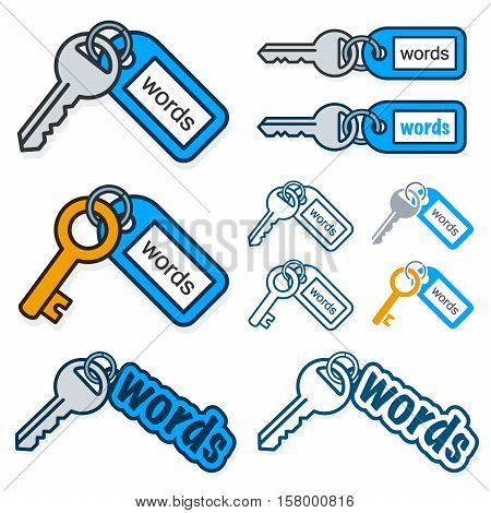 Set of keys with the text - Words - on their tags conceptual of keywording and SEO with different shaped key and tag combinations isolated on white vector illustration