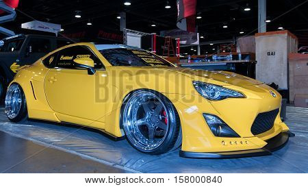 LAS VEGAS NV/USA - OCTOBER 31 2016: Customized Scion FR-S car at the Specialty Equipment Market Association (SEMA) 50th Anniversary auto trade show.