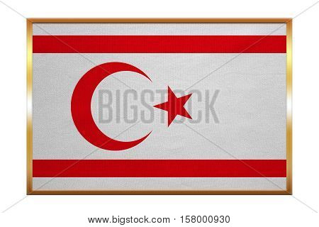 Northern Cyprus national official flag. TRNC patriotic symbol banner element background. Correct colors. Flag of Turkish Republic of Northern Cyprus golden frame texture illustration. Accurate size