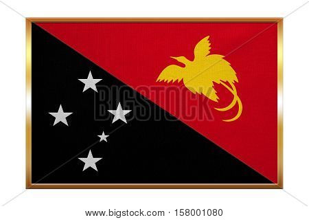 Papua New Guinean national official flag. Papuan patriotic symbol banner element background. Correct colors. Flag of Papua New Guinea golden frame fabric texture illustration. Accurate size
