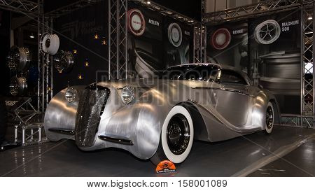 LAS VEGAS NV/USA - OCTOBER 31 2016: A hand-built roadster at the Specialty Equipment Market Association (SEMA) 50th Anniversary auto trade show. Name: Shangri-La Builder: Rick Dore Kustoms Booth: American Racing