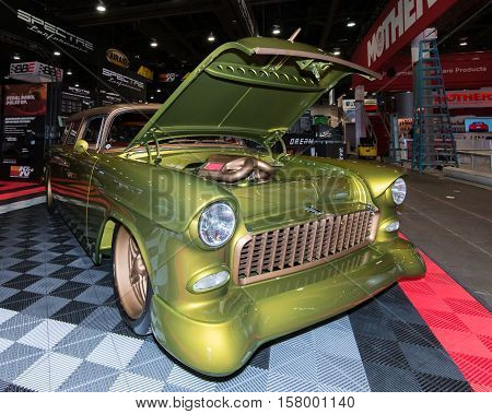 LAS VEGAS NV/USA - OCTOBER 31 2016: A cusomized station wagon at the Specialty Equipment Market Association (SEMA) 50th Anniversary auto trade show. Booth: Spectre Performance
