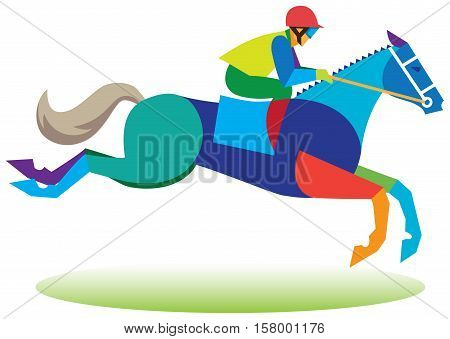 The young jockey takes part in the races with obstacles on the racetrack