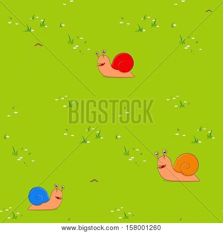 Seamless background pattern of colorful red blue and brown garden snails on green grass in a field or meadow as a seamless background for kids with copy space vector illustration