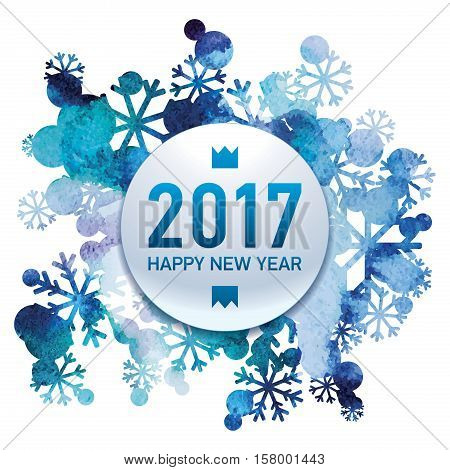 2017, Happy New Year, snow bouquet, handmade painted, watercolor, abstract vector design art