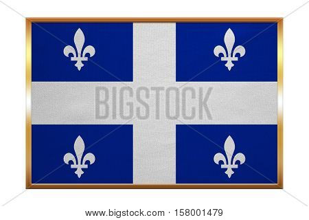 Canadian provincial flag QC patriotic element and official symbol. Canada Quebec banner and background. Correct size. Flag of the Canadian province of Quebec golden frame fabric texture illustration