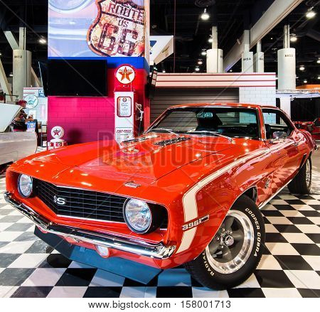 LAS VEGAS NV/USA - OCTOBER 31 2016: Customized Chevrolet Camaro SS car with Route 66 and Texaco theme at the Specialty Equipment Market Association (SEMA) 50th Anniversary auto trade show.