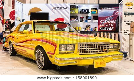 LAS VEGAS NV/USA - OCTOBER 31 2016: Customized Chevrolet Malibu car at the Specialty Equipment Market Association (SEMA) 50th Anniversary auto trade show. Name: The Boss Booth: Indasa Ultravent