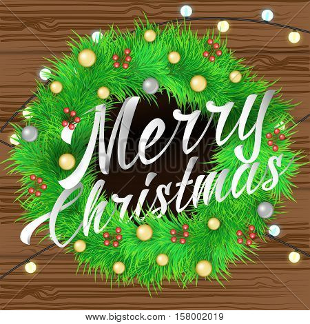 merry Christmas lettering Background with writh decorations