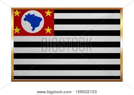Brazilian state of Sao Paulo official flag symbol. Brasil banner background. Federative Republic of Brazil patriotic element. Correct size. Flag of Sao Paulo golden frame fabric texture illustration