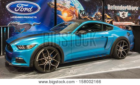 LAS VEGAS NV/USA - OCTOBER 31 2016: Customized Ford Mustang at the Specialty Equipment Market Association (SEMA) 50th Anniversary auto trade show. Booth: DefenderWorx